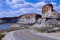 Former US 30 and Lincoln Highway roadbed leads west out of Green River, Wyoming.