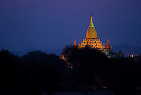 Sunset at Shwenanyindaw Temple, Bagan, Myanmar, Burma.