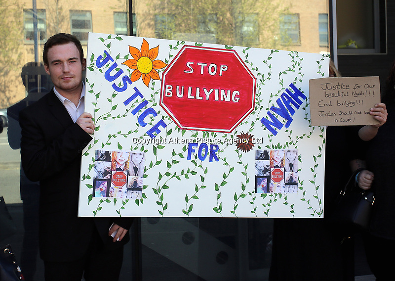 """Pictured: Jordan Clements, outside Swansea Magistrates Court. Tuesday 02 May 2017<br /> Re: A man who sent abusive messages to girls he believed had bullied his late sister has been spared jail by a judge, who said he had been """"irrational with grief"""".<br /> Jordan Clements' 14-year-old sister Nyah James was found dead at her home in Blaenymaes, Swansea, in February.<br /> Swansea Magistrates' Court heard Clements later targeted four girls.<br /> The 20-year-old pleaded guilty to two counts of harassment and two counts of sending offensive communications.<br /> Clements was ordered to complete a 125-hour community order as well as 15 days of rehabilitation.<br /> District Judge Neale Thomas said he could have sent Clements to prison because of the targeted and frightening online messages he sent to his four victims, which the court heard were abusive and threatening.<br /> However, Judge Thomas said the defendant had become """"irrational with grief"""" following Nyah's death."""