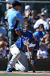 Los Angeles Dodgers&rsquo; Andre Ethier fouls a ball off his leg in a spring training game in Scottsdale, Ariz., on Friday, March 18, 2016. <br />Photo by Cathleen Allison