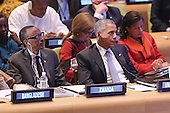 United States President Barack Obama (C) sits next to President Paul Kagame of Rwanda (L) during the Leaders' Summit on Peacekeeping at the 70th annual UN General Assembly at the UN headquarters September 28, 2015 in New York City. The White House helped to lead and secure new commitments of peacekeeping support from UN member countries. <br /> Credit: Chip Somodevilla / Pool via CNP