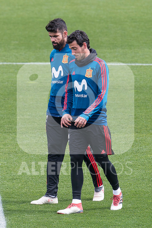 Diego Costa and Dani Parejo during Spain training session a few days before soccer match between Spain and Argentina in Madrid , Spain. March 24, 2018. (ALTERPHOTOS/Borja B.Hojas)
