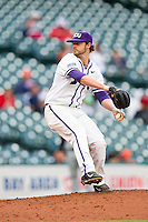 Texas Christian Horned Frogs starting pitcher Brandon Finnegan #29 delivers a pitch to the plate against the Sam Houston State Bearkats at Minute Maid Park on February 28, 2014 in Houston, Texas.  The Bearkats defeated the Horned Frogs 9-4.  (Brian Westerholt/Four Seam Images)