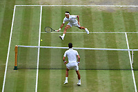 Roger Federer against Novak Djokovic (Ser) in men final<br /> Wimbledon 14/07/2019<br /> Tennis Grande Slam 2019 <br /> Finale - Final  <br /> Photo Antoine Couvercelle / Panoramic <br /> ITALY ONLY