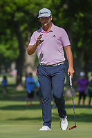Jon Rahm (ESP) after sinking his par putt on 3 during round 3 of the Fort Worth Invitational, The Colonial, at Fort Worth, Texas, USA. 5/26/2018.<br /> Picture: Golffile | Ken Murray<br /> <br /> All photo usage must carry mandatory copyright credit (&copy; Golffile | Ken Murray)