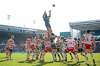 Graham Kitchener of Leicester Tigers rises high to win lineout ball. Aviva Premiership match, between Leicester Tigers and Gloucester Rugby on April 2, 2016 at Welford Road in Leicester, England. Photo by: Patrick Khachfe / JMP