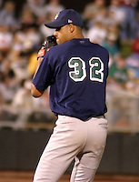 August 30, 2003:  Luis Pena of the Beloit Snappers, Class-A affiliate of the Milwaukee Brewers, during a Midwest League game at Fifth Third Field in Dayton, OH.  Photo by:  Mike Janes/Four Seam Images