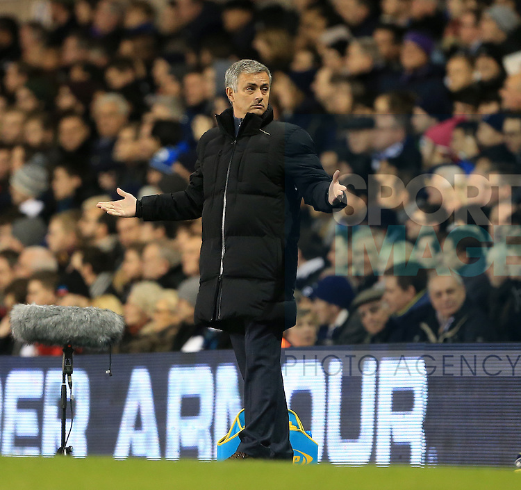 Chelsea's Jose Mourinho looks on dejected<br /> <br /> Barclays Premier League - Tottenham Hotspur vs Chelsea - White Hart Lane  - England - 1st January 2015 - Picture David Klein/Sportimage