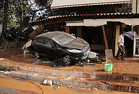 Pictured: Debris and a car in the middle of the road.<br /> Re: Five people have reportedly died and severe damage caused by heavy rain and flash flooding in the area of Mandra, near Athens, Greece. Wednesday 15 November 2017