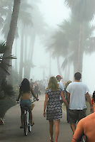 Fog persisted through much of the fourth of July holiday at Pacific Beach and Mission Beach in San Diego, CA, 2008.