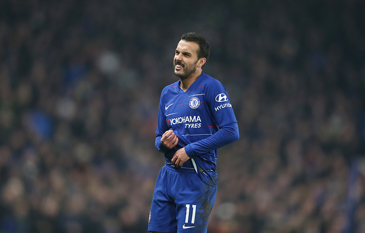 Chelsea's Pedro<br /> <br /> Photographer Rob Newell/CameraSport<br /> <br /> The Carabao Cup Semi-Final Second Leg - Chelsea v Tottenham Hotspur - Thursday 24th January 2019 - Stamford Bridge - London<br />  <br /> World Copyright © 2018 CameraSport. All rights reserved. 43 Linden Ave. Countesthorpe. Leicester. England. LE8 5PG - Tel: +44 (0) 116 277 4147 - admin@camerasport.com - www.camerasport.com