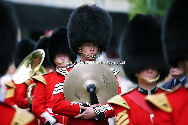 Pictured: A cymbal player of the Welsh Guards as they parade through Castle Square in Swansea.  Friday 15 September 2017<br />Re: Soldiers from the Welsh Guards have exercised their freedom to march through the streets of Swansea in Wales, UK.<br />The Welsh warriors paraded with bayonets-fixed from the city centre to the Brangwyn Hall, where the Lord Mayor of Swansea took a salute.