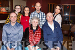 BIRTHDAY GREETINGS: Nettie Dowling, Stacks Villas, Tralee (seated centre) who was out celebrating the occasion of her birthday with her family in O'Donnells Restaurant on Monday evening last. Seated l-r: Eddie, Nettie and Tommy Dowling. Standing l-r: Lauren, Sabrina, David and Chelsea Dowling.