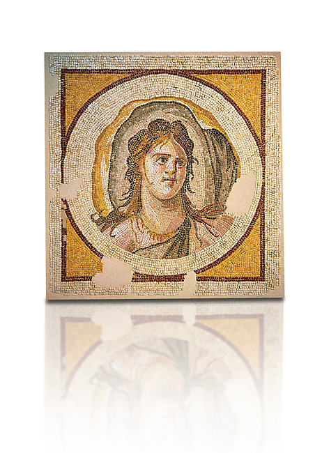 Female Portrait (Antioch, Antakya, Turkey), 1st half of 3rd century AD. Marble cubes, limestone and glass. The mosaic bust of a female with a billowing sail that surrounds her head that it could represent the wind. The mosaic decorated the entrance of a dining room and was once flanked it with now lost representations of the marine deities Thalassa and Okeanosinv 3460, Louvre Museum, Paris