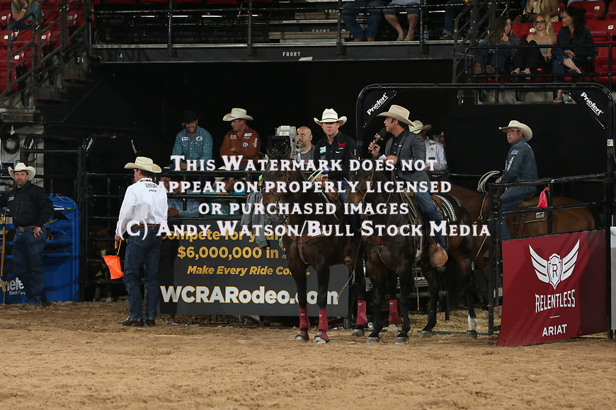 Anthony Lucia interviews Trevor Brazile during the first round of the Las Vegas WCRA rodeo. Photo by Andy Watson