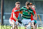 Dara Moynihan and Shane Courtney East Kerry in action against David O'Callaghan Saint Brendans in the Kerry Senior Football County Championship Round One between Saint Brendans and East Kerry at Austin Stack Park Tralee.