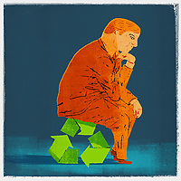 Businessman as The Thinker sitting on recycling symbol