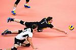 18.09.2019, Lotto Arena, Antwerpen<br />Volleyball, Europameisterschaft, Deutschland (GER) vs. Slowakei (SVK)<br /><br />Abwehr Julian Zenger (#10 GER), Christian Fromm (#1 GER)<br /><br />  Foto © nordphoto / Kurth