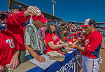 9 March 2014: Washington Nationals utility infielder Jamey Carroll signs autographs prior to a Spring Training game against the St. Louis Cardinals at Space Coast Stadium in Viera, Florida. The Nationals defeated the Cardinals 11-1 in Grapefruit League play. Mandatory Credit: Ed Wolfstein Photo *** RAW (NEF) Image File Available ***