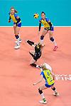24.02.2019, SAP Arena, Mannheim<br /> Volleyball, DVV-Pokal Finale, SSC Palmberg Schwerin vs. Allianz MTV Stuttgart<br /> <br /> Annahme Anna Pogany (#4 Schwerin) / Libero<br /> <br />   Foto © nordphoto / Kurth