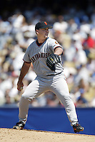 Ryan Jensen of the San Francisco Giants pitches during a 2002 MLB season game against the Los Angeles Dodgers at Dodger Stadium, in Los Angeles, California. (Larry Goren/Four Seam Images)