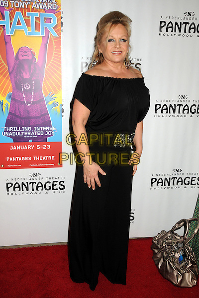 "CHARLENE TILTON .""Hair"" Play Opening held at the Pantages Theatre,  Hollywood, California, USA, 6th January 2011..full length black long maxi dress belt off the shoulder .CAP/ADM/BP.©Byron Purvis/AdMedia/Capital Pictures."