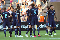 The England players celebrate the victory during Slovakia Under-21 vs England Under-21, UEFA European Under-21 Championship Football at The Kolporter Arena on 19th June 2017
