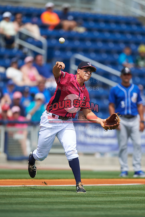 Pensacola Blue Wahoos third baseman Seth Mejias-Brean (5) throws to first during the first game of a double header against the Biloxi Shuckers on April 26, 2015 at Pensacola Bayfront Stadium in Pensacola, Florida.  Biloxi defeated Pensacola 2-1.  (Mike Janes/Four Seam Images)