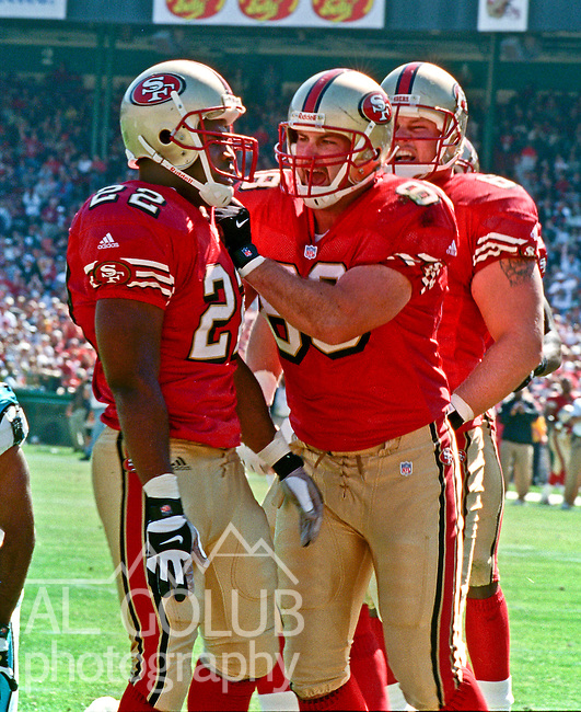 San Francisco 49ers vs. Carolina Panthers at Candlestick Park Sunday, September 10, 2000. Panthers beat 49ers 38-22.  San Francisco 49ers tight end Justin Swift (88) congratulates full back Terry Jackson (22).