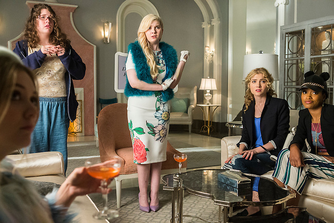 From left: Billie Lourd as Chanel No. 3, Breezy Eslin as Jennifer, Abigail Breslin as Chanel No. 5, Skyler Samuels as Grace, and Keke Palmer as Zayday in Scream Queens, Season 1