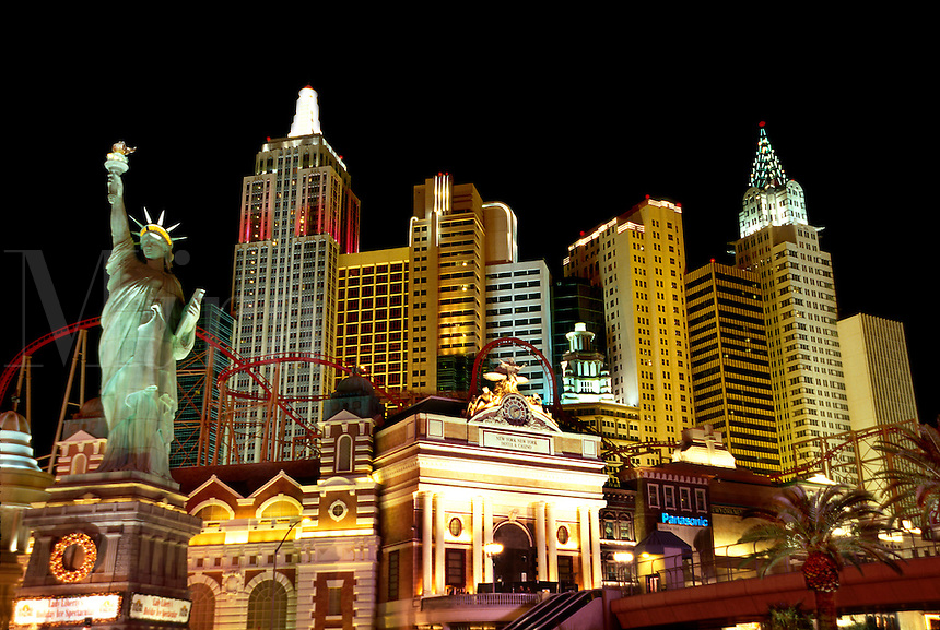 The facade of the New York, New York hotel and casino. Las Vegas, Nevada.