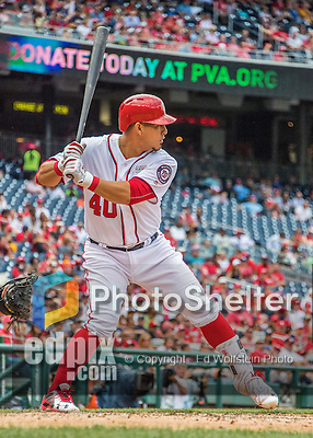 14 May 2016: Washington Nationals catcher Wilson Ramos at bat during the first game of a double-header against the Miami Marlins at Nationals Park in Washington, DC. The Nationals defeated the Marlins 6-4 in the afternoon matchup.  Mandatory Credit: Ed Wolfstein Photo *** RAW (NEF) Image File Available ***