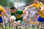 Michael Geaney, Kerry in action against Jamie Malone, Clare in the Munster Senior Championship Semi Final in Cusack Park, Ennis on Sunday.