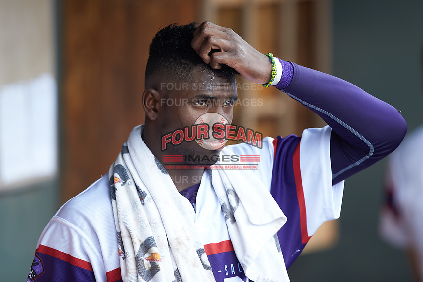 Luis Robert (21) of the Winston-Salem Rayados during the game against the Potomac Nationals at BB&T Ballpark on August 12, 2018 in Winston-Salem, North Carolina. The Rayados defeated the Nationals 6-3. (Brian Westerholt/Four Seam Images)