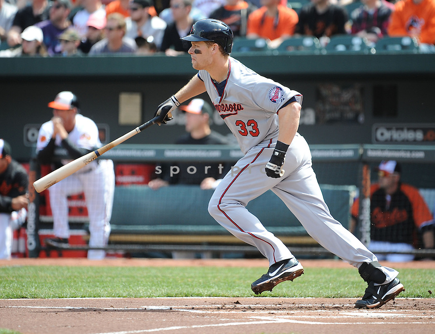 Minnesota Twins Justin Morneau (33) during a game against the  Baltimore Orioles on April 7, 2013 at Oriole Park in Baltimore, MD. The Twins beat the Orioles 4-3..