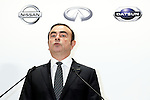 Carlos Ghosn, Chairman and Chief Executive Officer of Nissan Motor Co., Ltd. speaks during a press conference on October 20, 2016, Tokyo, Japan. Ghosn said that the acquisition of a 34% stake in Mitsubishi Motors Corporation by Nissan will create ''one the world's three largest automotive groups,'' and that the new partnership will bring benefits worth 24 billion yen in the next fiscal year and rising to 60 billion yen in 2018. Nissan plans to appoint Ghosn as chairman of MMC, putting him in charge of three automobile makers. (Photo by Rodrigo Reyes Marin/AFLO)