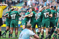 Leicester Tigers players celebrate at the final whistle. Aviva Premiership Final, between Leicester Tigers and Northampton Saints on May 25, 2013 at Twickenham Stadium in London, England. Photo by: Patrick Khachfe / Onside Images