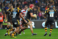 James Haskell of Wasps is tackled by Ben Morgan of Gloucester Rugby. Aviva Premiership match, between Wasps and Gloucester Rugby on November 8, 2015 at the Ricoh Arena in Coventry, England. Photo by: Patrick Khachfe / Onside Images