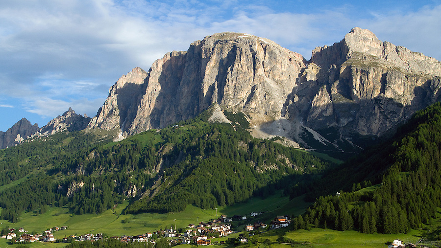The view from Chalet La Flu as the sun rises over Corvara in Badia, Südtirol, Italy, our honeymoon home.