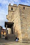 Old man and woman sitting by church in Garganta la Olla, La Vera, Extremadura, Spain