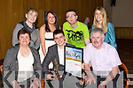 FAMILY: Sean Crean Camp, with his family after he was presented with Certificate of Distinction and Trophy at the Lee Strand Garda Youth Awards in the Brandon Hotel, Tralee on Friday night, Front l-r: Nora James and Jack Crean. Back l-r: Anne Bond, Mairead Crean, Michael ODriscoll and Martha Farrell...
