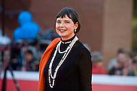 Rome, Italy, October 16, 2015. Actress Isabella Rossellini arrives for a meeting with spectators, at Rome's Film Festival, in Rome.