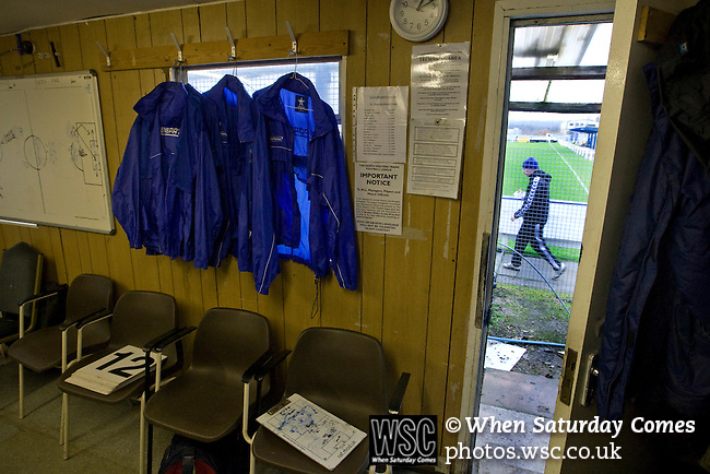 Glossop North End 0 Barnoldswick Town 1, 19/02/2011. Surrey Street, North West Counties League Premier Division. Playing kit and tactics boards lying out in the home dressing room belonging to Glossop North End at the club's Surrey Street ground before their game with Barnoldswick Town in the Vodkat North West Counties League premier division. The visitors won the match by one goal to nil watched by a crowd of 203 spectators. Glossop North End celebrated their 125th anniversary in 2011 and were once members of the Football League in England, spending one season in the top division in 1899-00. Photo by Colin McPherson.