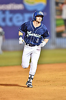 Asheville Tourists left fielder Casey Golden (11) rounds the bases after hitting a home run during a game against the Columbia Fireflies at McCormick Field on April 12, 2018 in Asheville, North Carolina. The Fireflies defeated the Tourists 7-5. (Tony Farlow/Four Seam Images)