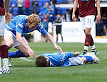 St Johnstone v Hearts...25.09.11   SPL Week 9.Cillian Sheridan celebrates his first goal with Liam Craig.Picture by Graeme Hart..Copyright Perthshire Picture Agency.Tel: 01738 623350  Mobile: 07990 594431
