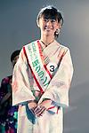 July 27 2012, Tokyo, Japan  The runner-up Manamy Fujimoto wears second place title at Yukata Beauty Contest in Koichi Festival. Shoko Kondo, one of the 10 finalists of 270 candidates, wins the annual Yukata Beauty Festival at Koichi Festival in Shimbashi, Tokyo. (Photo by Rodrigo Reyes Marin/AFLO)..