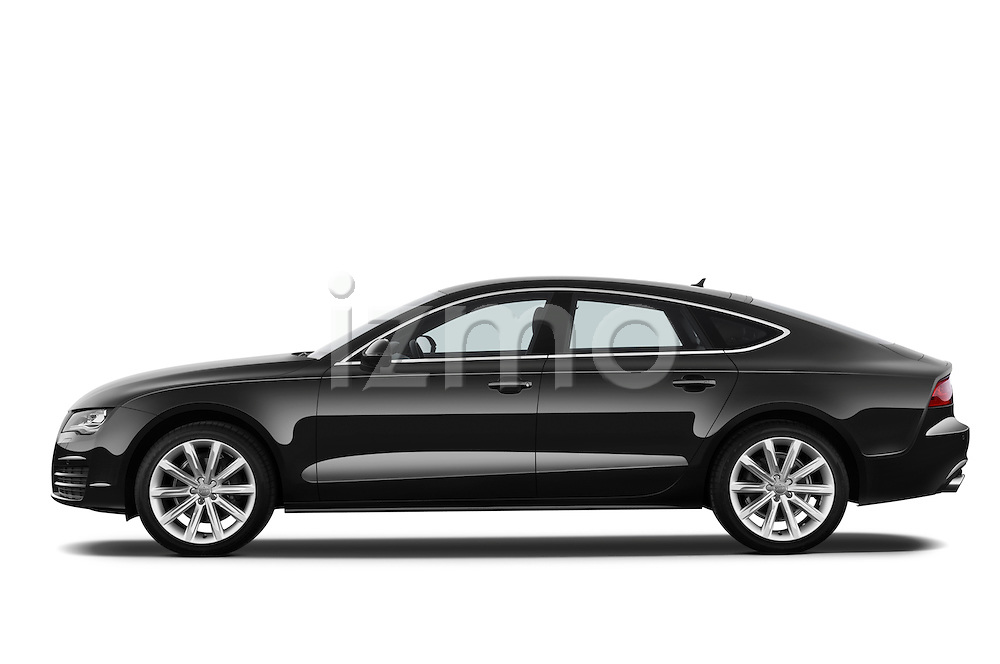 Driver side profile view of a 2013 Audi A7 Hatchback.