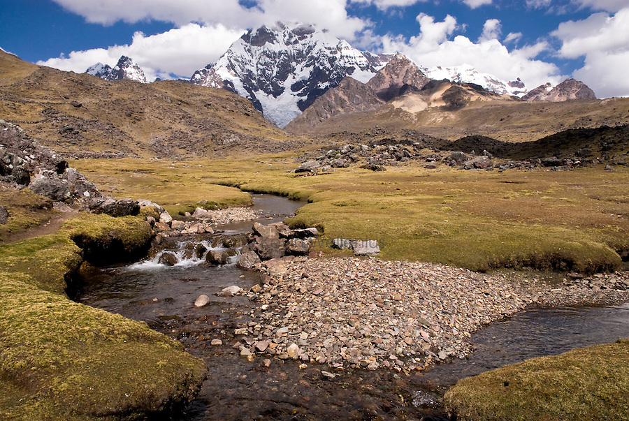 The Cordillera Vilcanota, approximately 75 miles east of Cusco, Peru, receives few visitors and is an attractive alternative to the the popular Inca Trail. The range's highest peak is Ausengate, at 20,906 feet, with several passes higher than 16,000 feet.