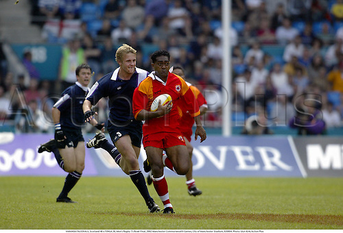VAHANOA FALEOVALU, Scotland 40 v TONGA 26, Men's Rugby 7's Bowl Final, 2002 Manchester Commonwealth Games, City of Manchester Stadium, 020804. Photo: Glyn Kirk/Action Plus...union.international internationals.sevens 7s..........