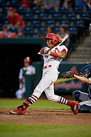 Springfield Cardinals center fielder Oscar Mercado (26) follows through on a swing during a game against the Corpus Christi Hooks on May 31, 2017 at Hammons Field in Springfield, Missouri.  Springfield defeated Corpus Christi 5-4.  (Mike Janes/Four Seam Images)